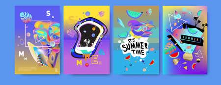 Illustration pour Colorful summer poster set. Tropical summer design template and cover. Summer illustration elements and background design template - image libre de droit
