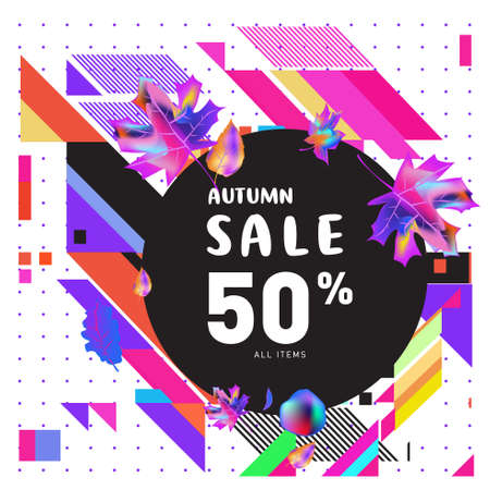 Illustration pour Autumn sale memphis style web banners. Fashion and travel discount poster. Vector holiday Abstract colorful illustration with special offer and promotion. - image libre de droit