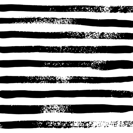 Illustration for Vector black and white striped background, black watercolor stripes on white background in grunge style , hand drawn paint brush - Royalty Free Image