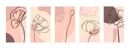 Illustration pour Set Backgrounds with one line poppy flowers . Abstract Mobile Wallpapers in minimal trendy style templates for social media stories. Vector Illustration in pastel color pink - image libre de droit