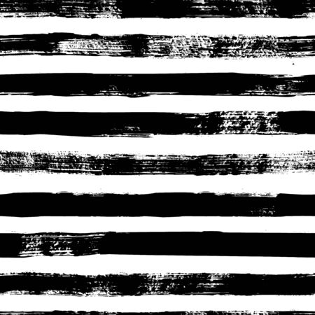 Illustration pour Grunge strips seamless pattern. Abstract texture hand drawn with a ink brush strokes. Vector Monochrome Scandinavian background in a simple style for print on textiles, paper, Wallpaper, t-shirts - image libre de droit