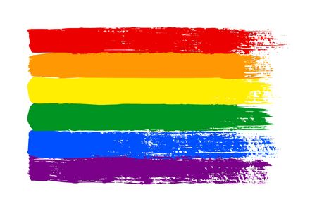 Illustration pour Grunge LGBT pride flag. Abstract rainbow flag texture hand drawn with a ink. Vector Multicolored background of horizontal brushstroke stripes in a for print on textiles, t-shirts, and web site. - image libre de droit