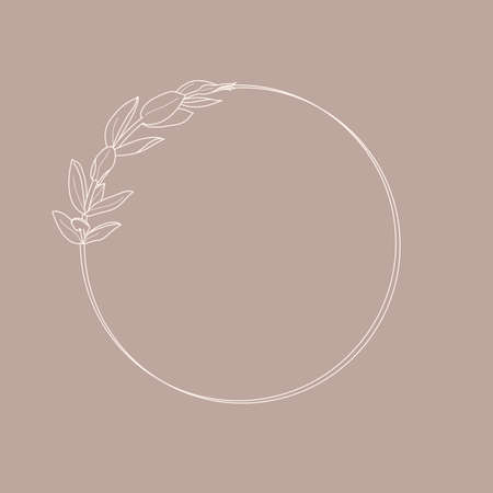 Illustration pour Frame of Lisianthus Flowers and branches. Round icon in a trendy minimalistic linear style - image libre de droit