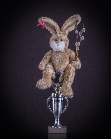 Easter sport concept. Teddy rabit top winner with willow branches scored a beaker.