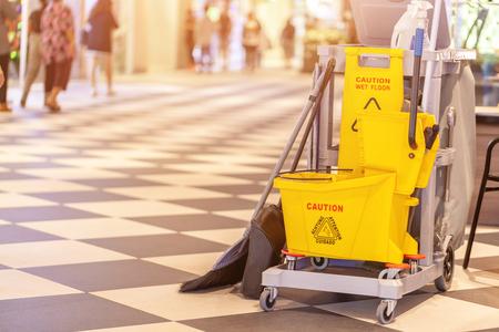 Foto de set of cleaning equipment in the Terminal 21 Pattaya shopping mall, Thailand - Imagen libre de derechos