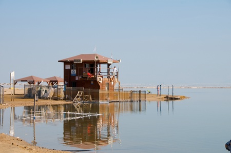 Lifeboat station on the shore of the Dead Sea. Israel.