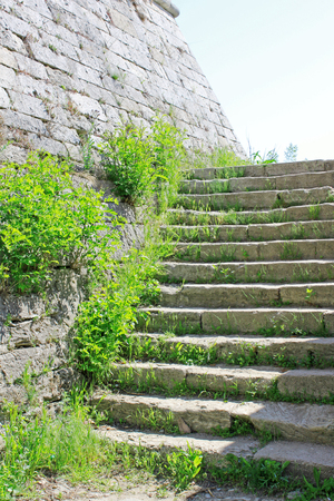 Old stone wall and stairs in foliage as a part of the Medieval Fortress Baba Vida in Vidin, northwestern Bulgaria.