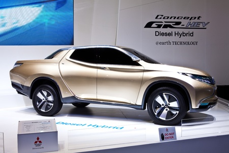 NONTHABURI, THAILAND - MARCH 26: Mitsubishi Concept GR-HEV a diesel hybrid pick-up prototype showed in 34th Bangkok International Motor Show on March, 2013 in Nonthaburi, Thailand.