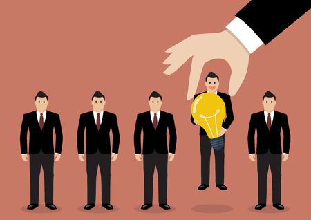 Hand choosing worker who has idea from group of businessmen. Recruitment concept