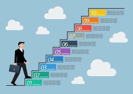 Illustration pour Businessman stepping up a staircase infographic. Ten steps to success - image libre de droit
