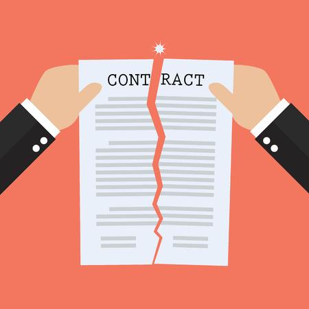Illustration pour Hands tearing apart contract document paper. agreement cancellation - image libre de droit