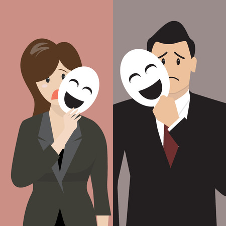 Ilustración de Fake business woman holding a smile mask. Metaphor concept - Imagen libre de derechos