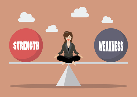 Illustration pour Business woman balancing between strength and weakness. Vector illustration - image libre de droit