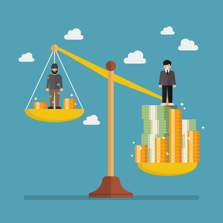 Illustration for Weight scale between rich man and poor man. Business metaphor concept - Royalty Free Image
