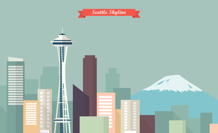 Illustration pour Seattle skyline. vector illustration - image libre de droit