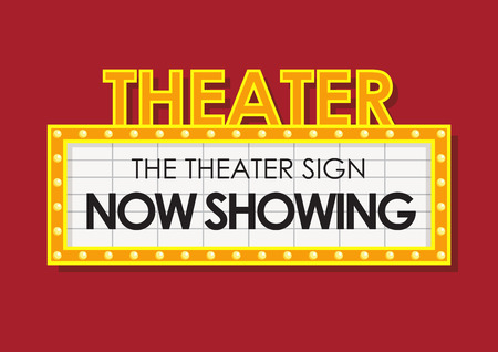 Illustration for Classic retro theater now showing sign - Royalty Free Image