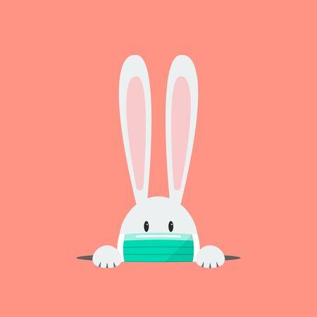 Illustration pour White rabbit wearing a protective mask. Coronavirus concept Vector illustration - image libre de droit