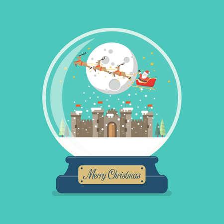 Illustration pour Merry christmas glass ball with Santa sleigh flying over castle. Vector illustration - image libre de droit