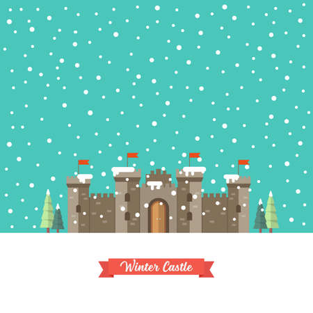 Illustration for Castle in winter season. Vector illustration - Royalty Free Image