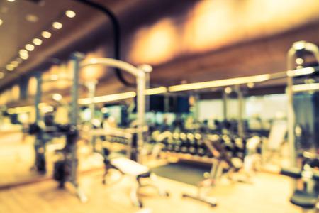 Foto de Abstract blur fitness gym room interior background - Vintage filter - Imagen libre de derechos