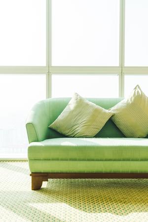 Foto de Pillow on sofa decoration in living room area - Imagen libre de derechos