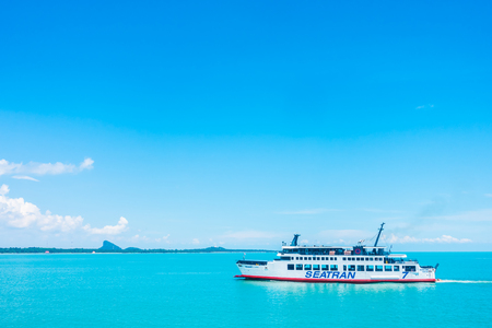 Koh Samui island , Thailand - May 14 2018 : Seatran Ferry conveying passenger from Donsak pier Surat Thani province to Koh Samui island in Thailand