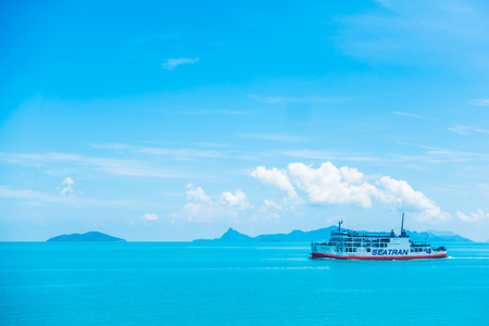 Koh Samui island , Thailand - May 14 2018 : Seatran Ferry conveying passenger from Donsak pier Surat Thani province to Koh Samui island in Thailand