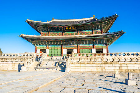 Photo for Beautiful architecture building Gyeongbokgung palace in Seoul South Korea - Royalty Free Image