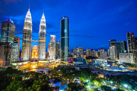 Foto per Beautiful architecture building exterior in Kuala Lumpur city in Malaysia for travel at twilight night - Immagine Royalty Free