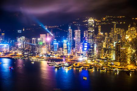 Photo pour Beautiful architecture building exterior cityscape of hong kong city skyline at night - image libre de droit