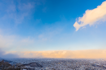 Photo pour Beautiful landscape with moiwa mountain around tree and city in snow winter season at sunset time in Sapporo Hokkaido Japan - image libre de droit
