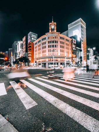 Photo pour TOKYO GINZA , JAPAN - AUG 1, 2018 : Ginza district and area is the luxury popular place for shopping in mall and department store of tokyo - image libre de droit