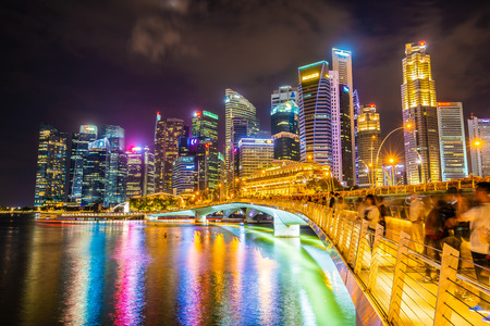 Photo for Singapore, 20 Jan 2019 : Beautiful architecture building skyscraper around marina bay in singapore city at twilight - Royalty Free Image