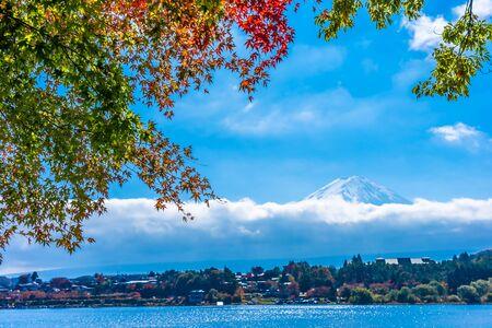 Photo pour Beautiful landscape of mountain fuji with maple leaf tree around lake in autumn season - image libre de droit