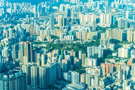 Photo for Beautiful architecture building exterior cityscape of hong kong city skyline on blue sky - Royalty Free Image