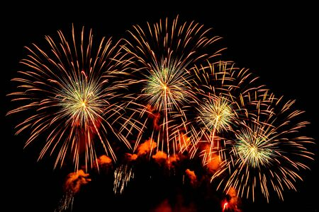 Photo pour Colorful Firework display background at night for celebration anniversary - image libre de droit
