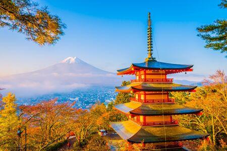 Photo pour Beautiful landscape of mountain fuji with chureito pagoda around maple leaf tree in autumn season at Yamanashi Japan - image libre de droit