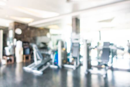 Photo pour Abstract blur and defocus fitness equipment in gym room interior for exercise - image libre de droit