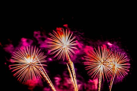 Photo for Beautiful colorful firework display at night for celebrate in anniversary - Royalty Free Image