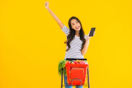 Photo for Portrait beautiful young asian woman shopping grocery from supermarket and cart with smart mobile phone on yellow isolated background - Royalty Free Image