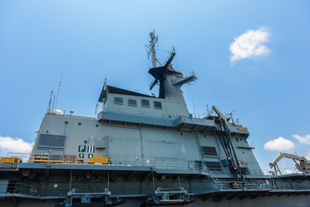 Sattahip, Chon Buri, Thailand, 27 Apr: Close-up pictures of the Chakri Naruebet boat, battleship from the Thai port at Sattahip. Currently open to the public to visit and travel, Thailand.