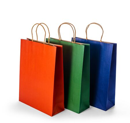 Photo pour Mockup Group of colorful Blank paper shopping bags isolated on white background with clipping path - image libre de droit