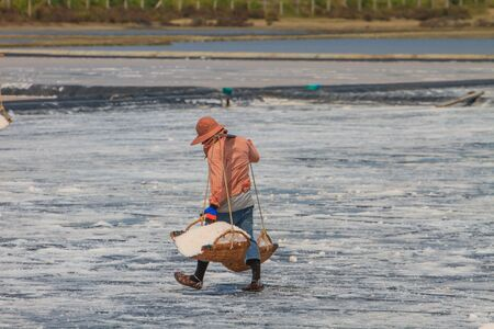 Salted worker in Thailand, Salt in the Saline in rural Thailand