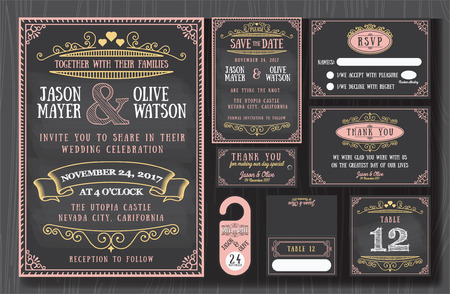 Vintage wedding invitation chalkboard design sets include Invitation card, Save the date, RSVP card, Thank you card, Table number, Gift tags, Place cards, Respond card, Save the date door hanger
