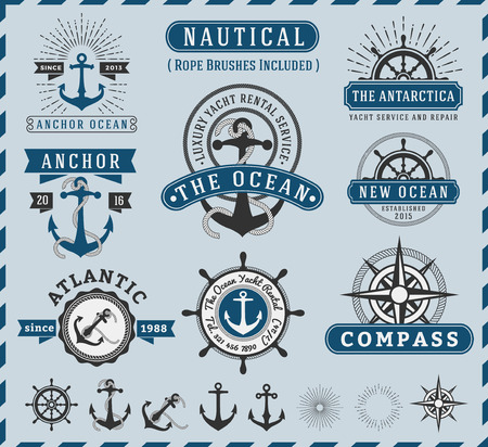 Nautical, Navigational, Seafaring and Marine insignia logotype vintage design with anchor, rope, steering wheel, starburst, sunburst element  Only Free Font Used, Vector illustration