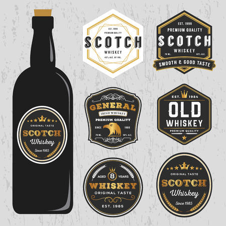 Vintage Premium Whiskey Brands Label Design Template, Resize able and free font used.