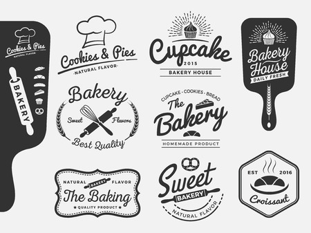 Set of bakery and bread logo labels design for sweets shop, bakery shop, cake shop, restaurant, bake shop  Vector illustration  All types used free commercial font.