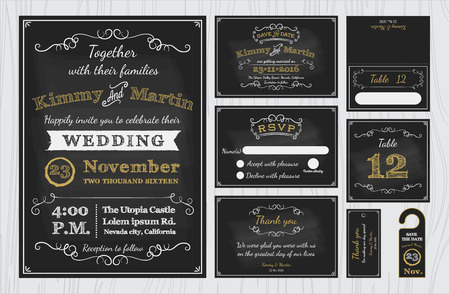 Illustration pour Vintage Chalkboard Wedding Invitations design sets include Invitation card, Save the date, RSVP card, Thank you card, Table number, Gift tags, Place cards, Respond card, Save the date door hanger - image libre de droit