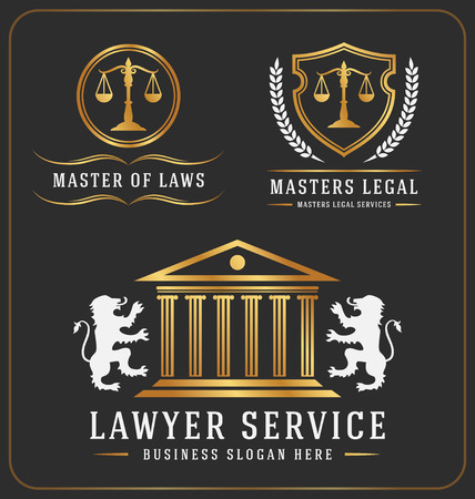 Set of lawyer service office logo template design. Vector illustration