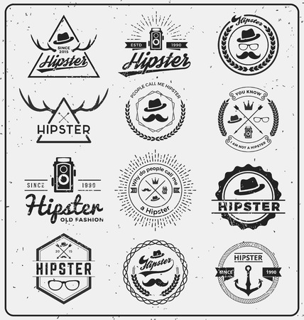Set of hipster insignia logo design for logo, T-shirt, apparel, stamp, printing, label, tags and other design. Vector illustration